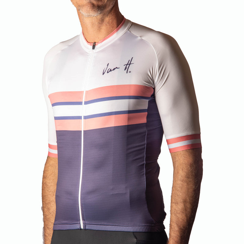 Men's White pink stripe jersey