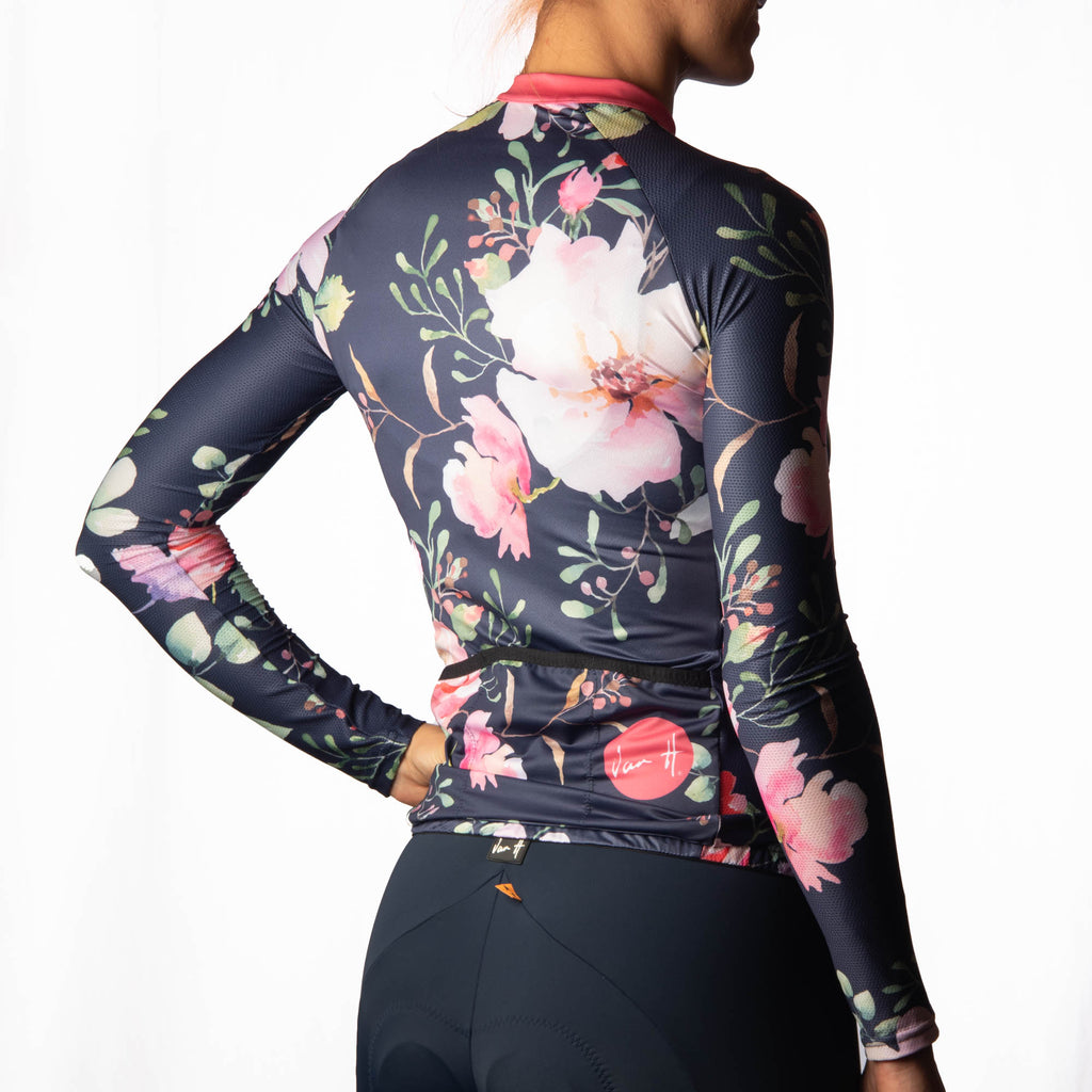 Women's Navy blossom long sleeve cycling jersey