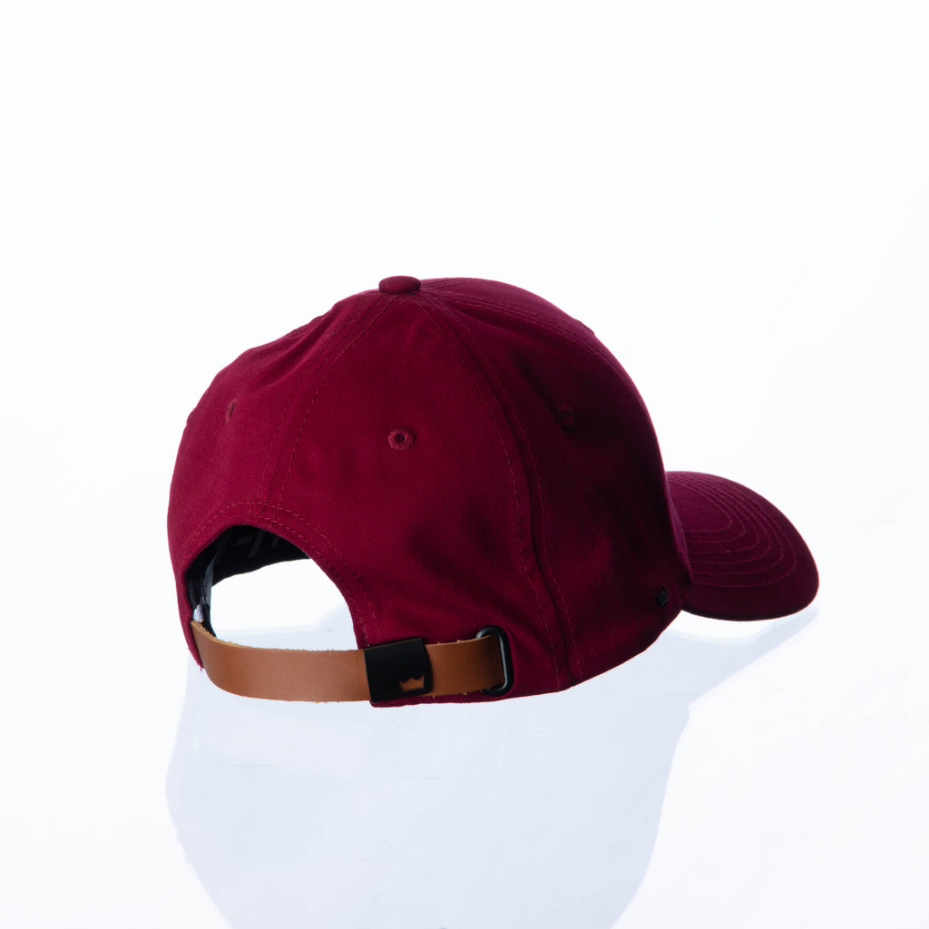 VanH Burgundy leather strap cap