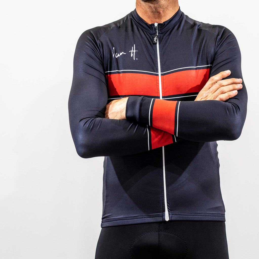 Navy and Red long sleeve cycling jersey