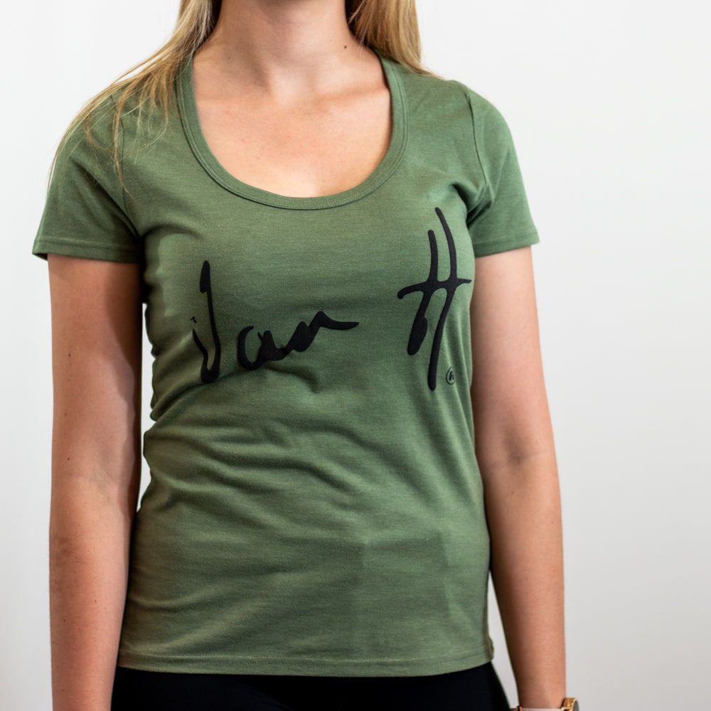 Military Green scoop neck t-shirt with black logo