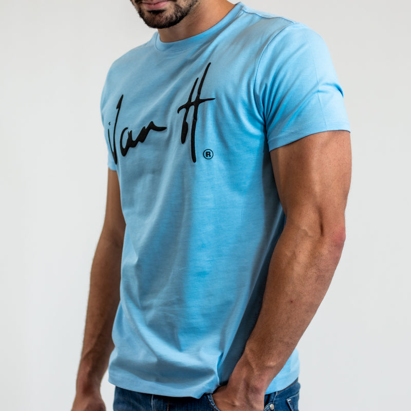 Men's Sky Blue t-shirt with black logo