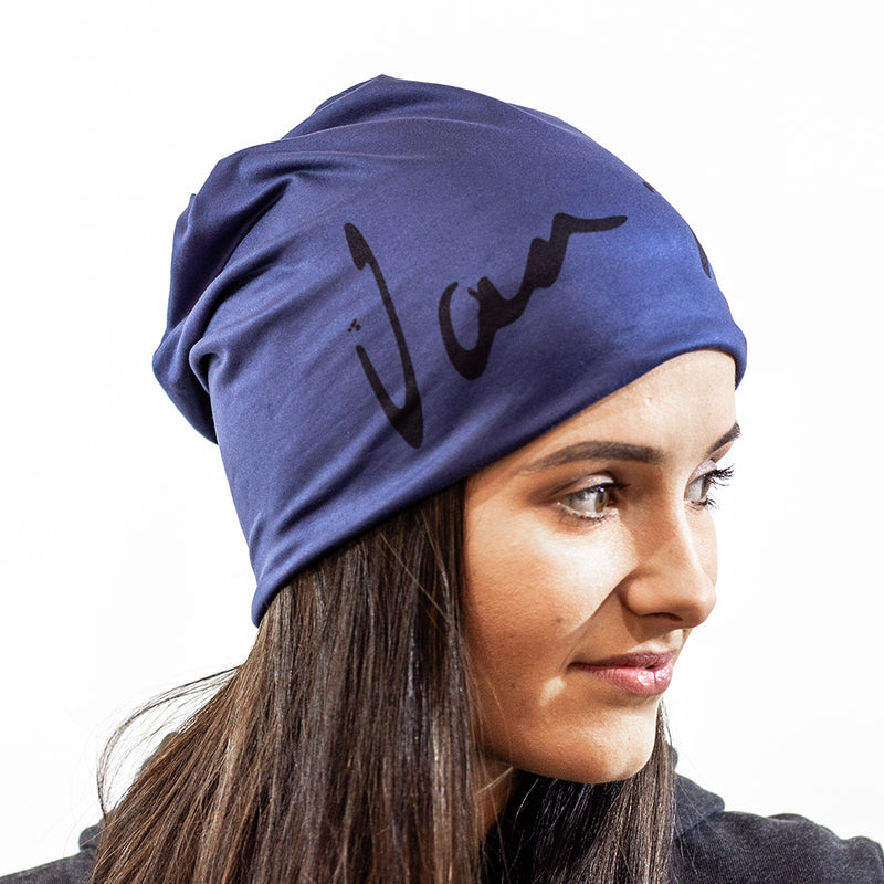 Blue beanie with black Van H logo