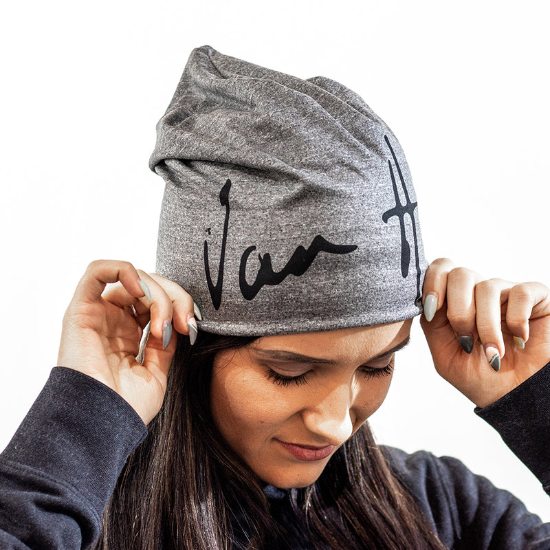 Grey melange beanie with black Van H logo
