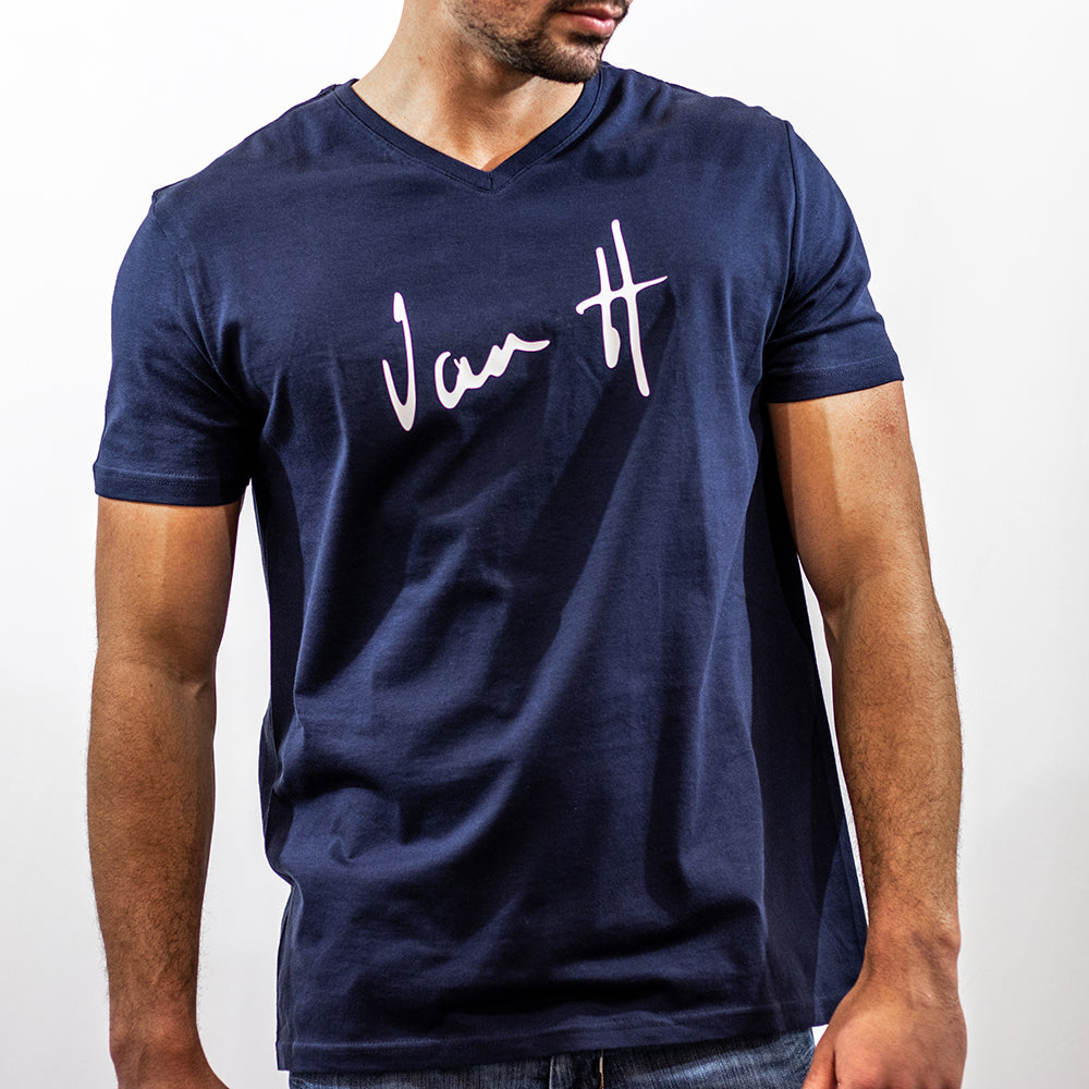 Men's Navy t-shirt with white logo