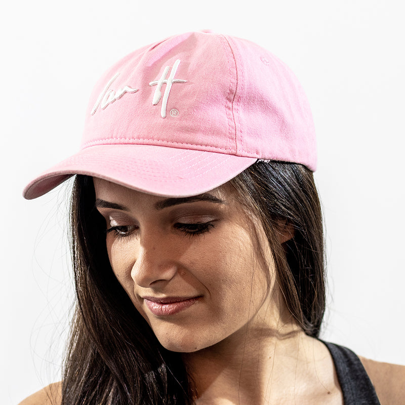 Pink cap with 3D embroidered white logo