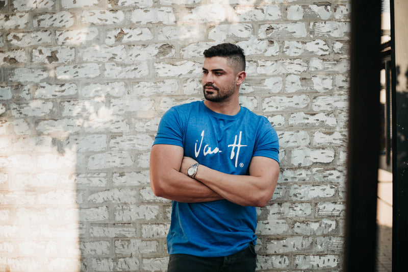 Men's Cobalt blue White T-shirt