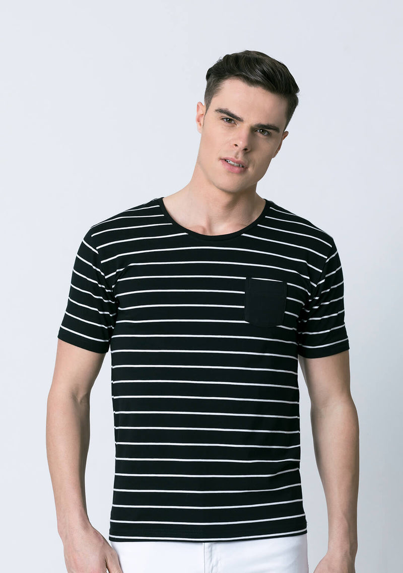 Stripe t shirt in Black & White Color for Men
