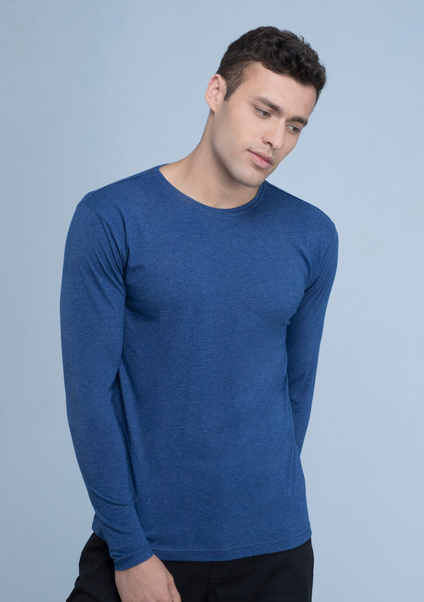 Full sleeved T-shirt in Azure Blue Mélange online