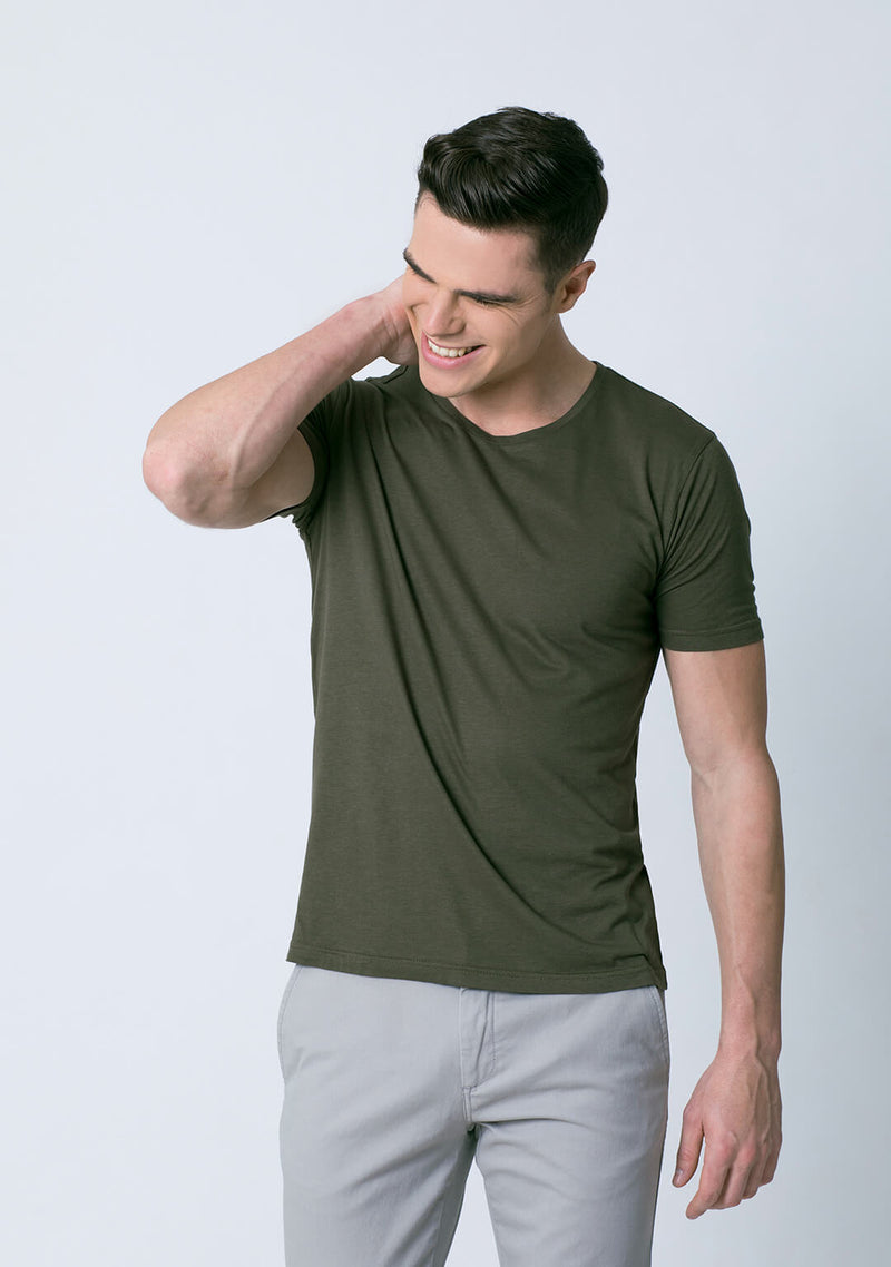 Crew Neck Olive Green Color Bamboo Cotton Tee Shirt men