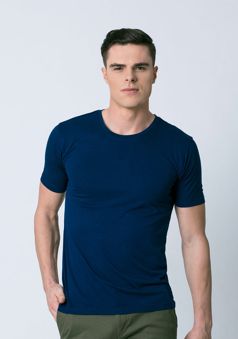 Crew Neck Vivid Blue Color Bamboo Cotton T Shirt