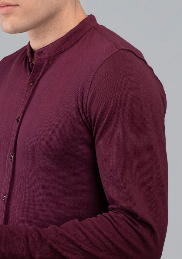 Full sleeved Piqué Shirt in Wine online