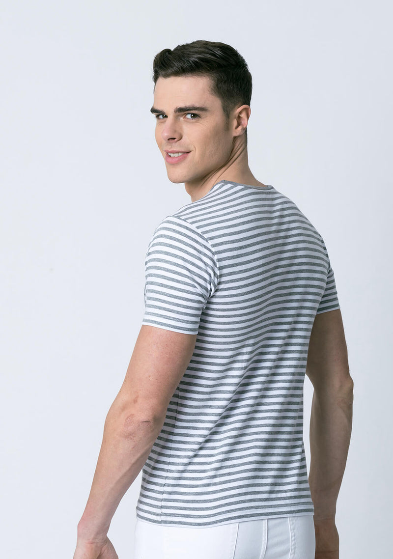Grey and White Striped T Shirt