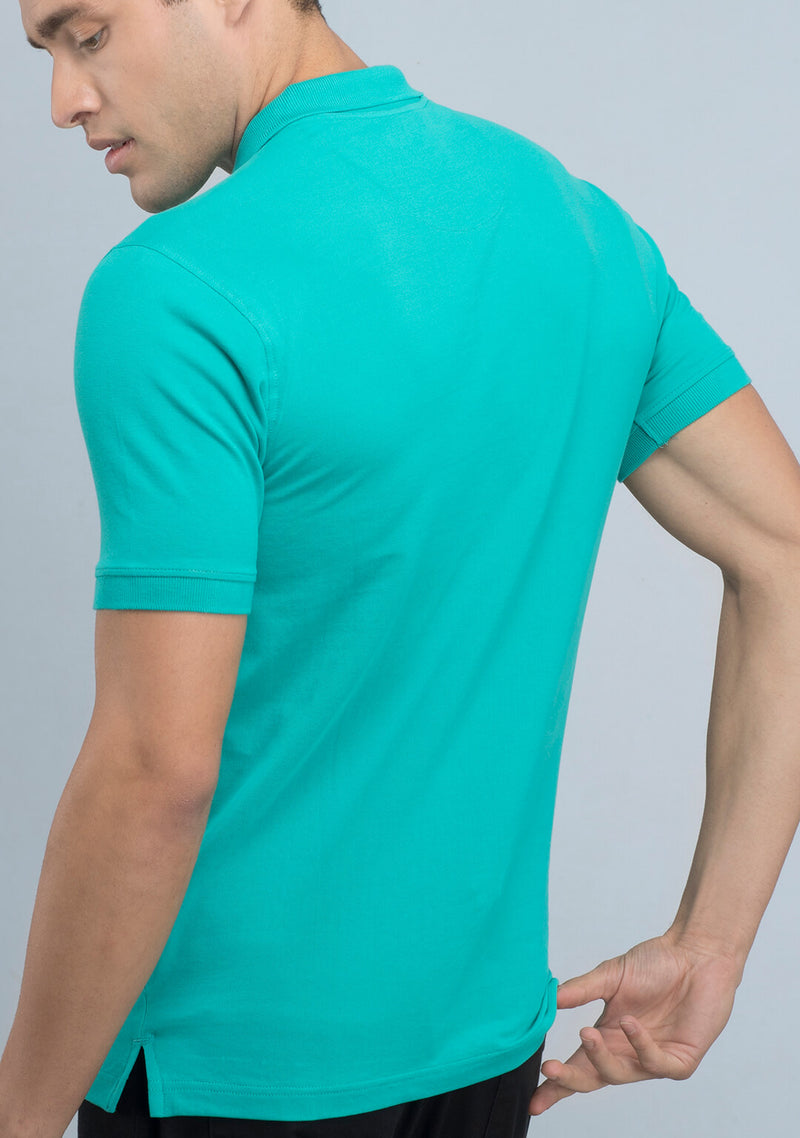 Shop Sea Green Polo T-shirt Online