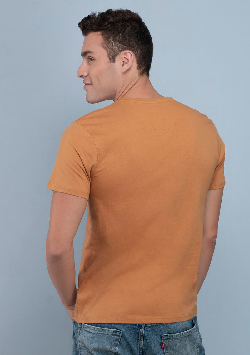 Khaki Crew Neck T Shirts for Men