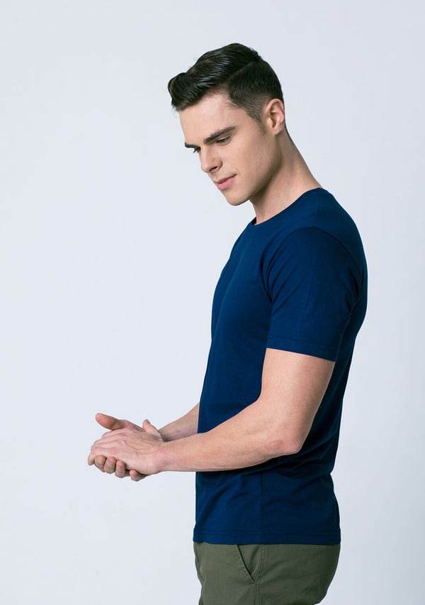 Crew Neck Vivid Blue Color Bamboo Cotton T Shirt for Men
