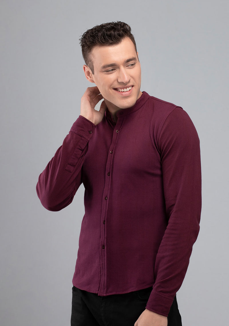 Shop Full sleeved Piqué Shirt in Wine India