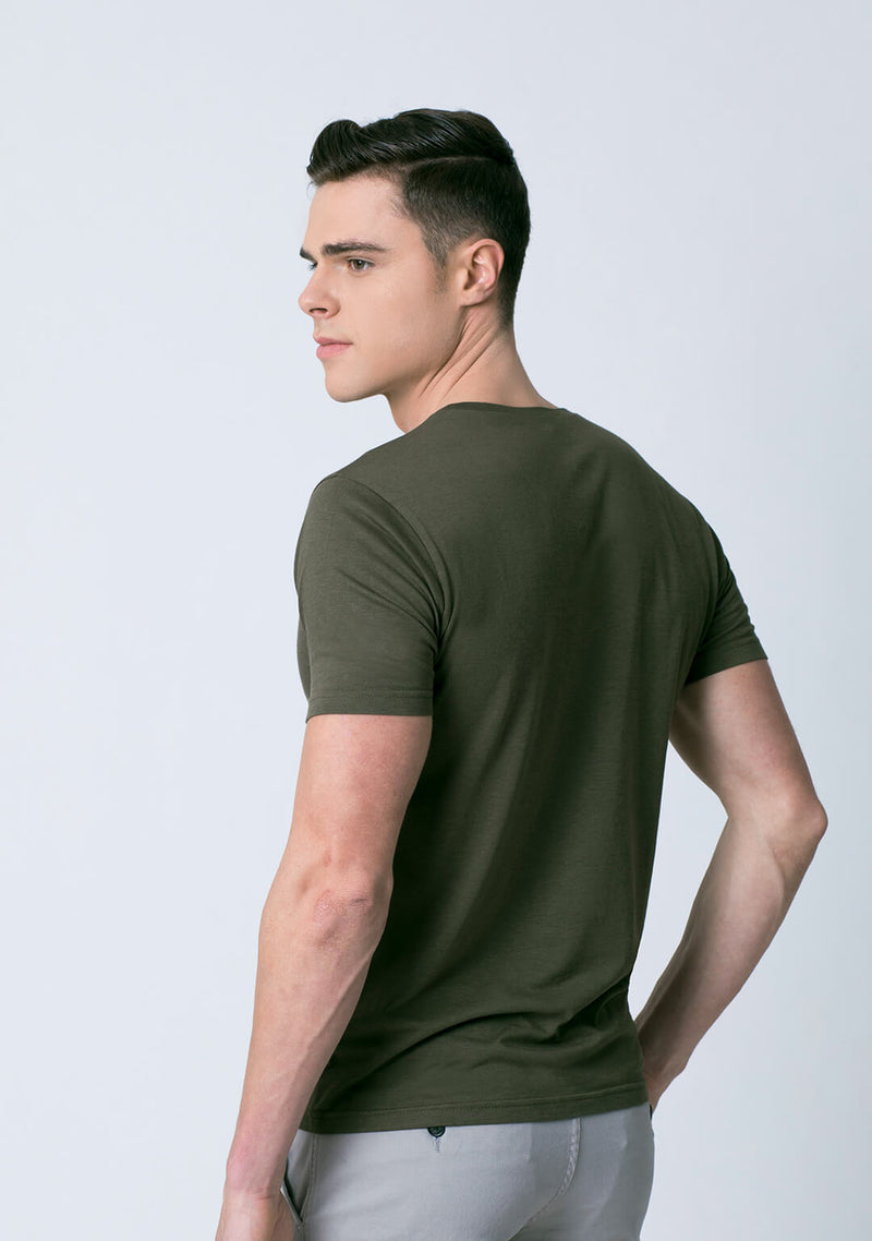 Olive Green Color Bamboo Cotton T Shirt