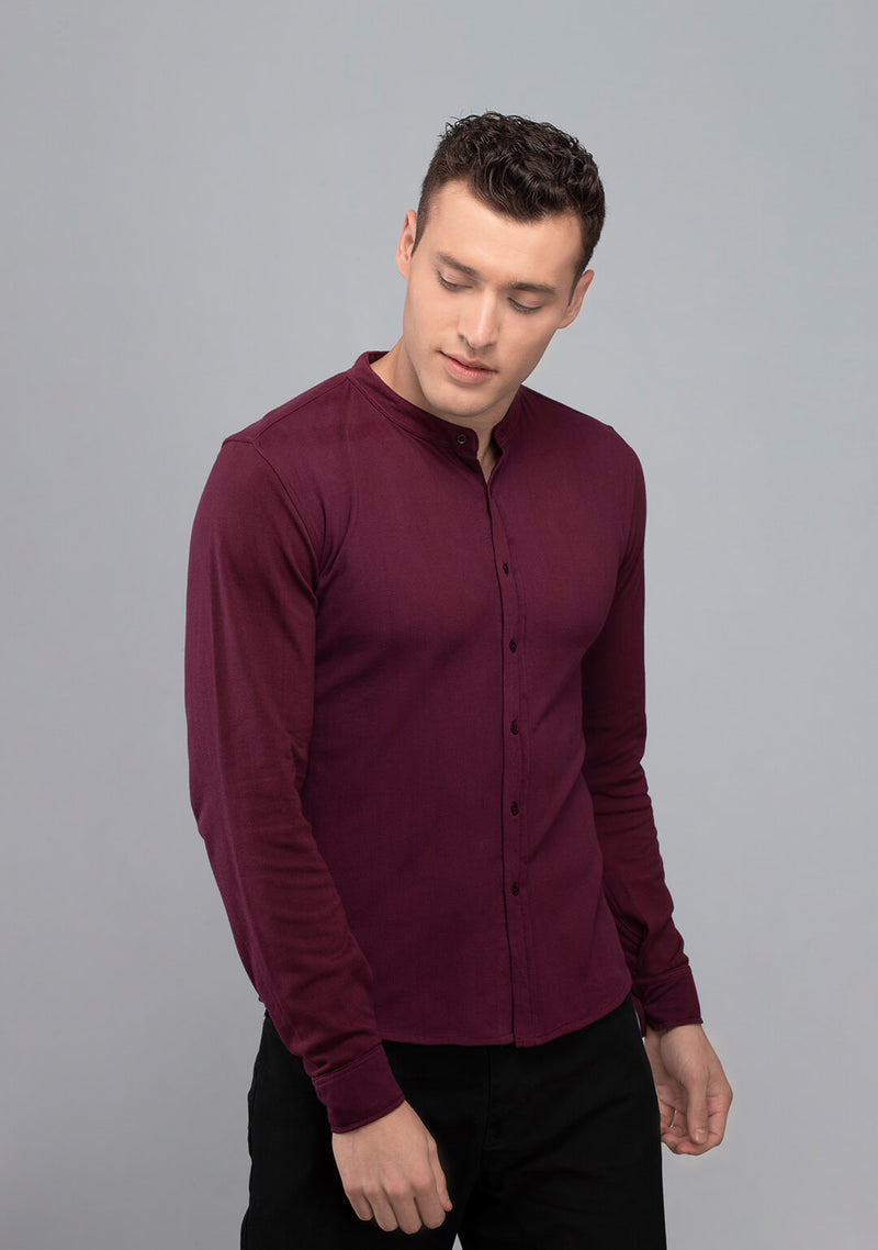 Wine colored Full sleeved Piqué Shirt for mens