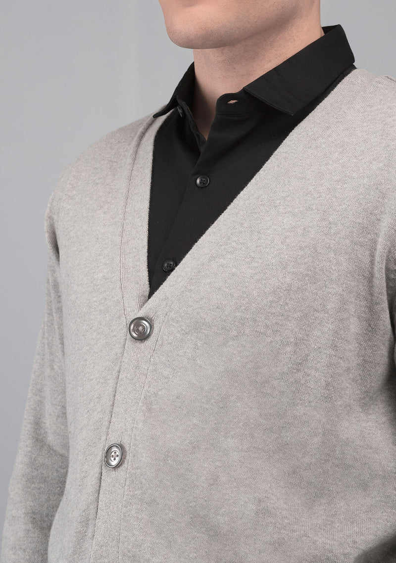 grey color cardigan sweater men