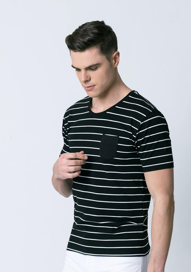 Stripe t shirt in Black & White Color