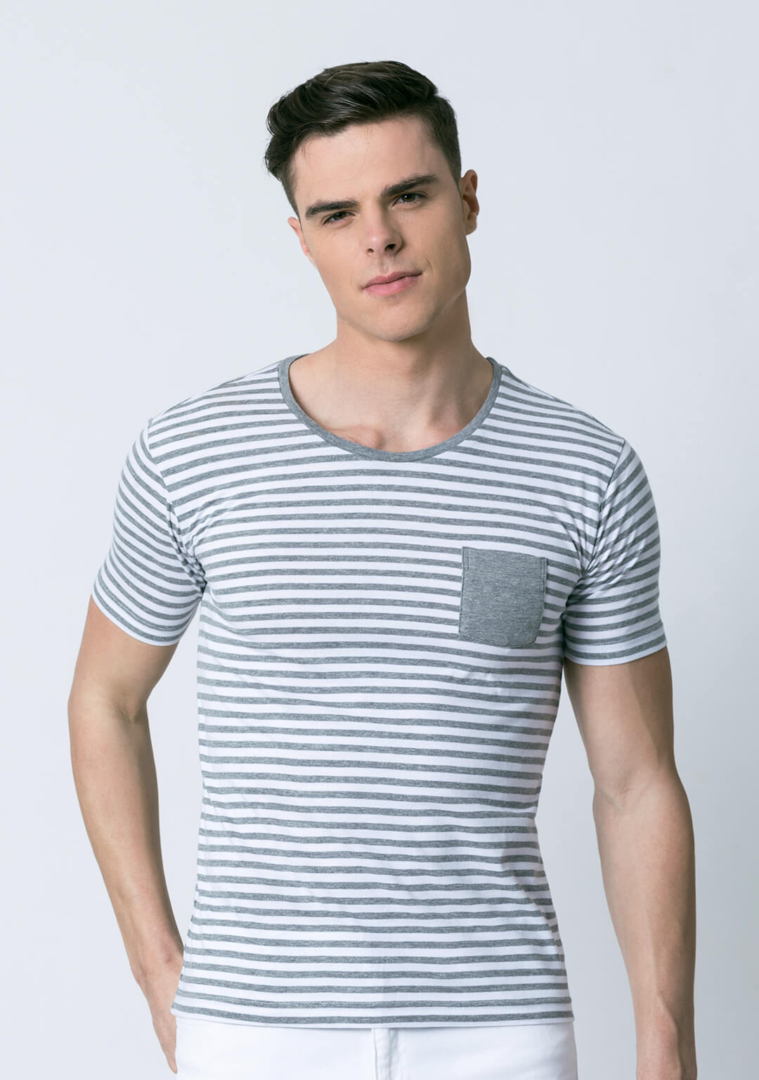 Stripe tee in Grey And White