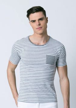 Grey and White Striped T Shirt for Men