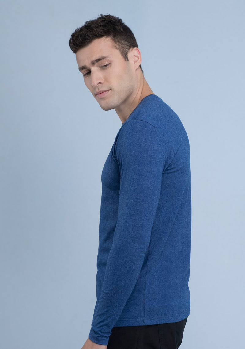 Full sleeved T-shirt in Azure Blue Mélange India