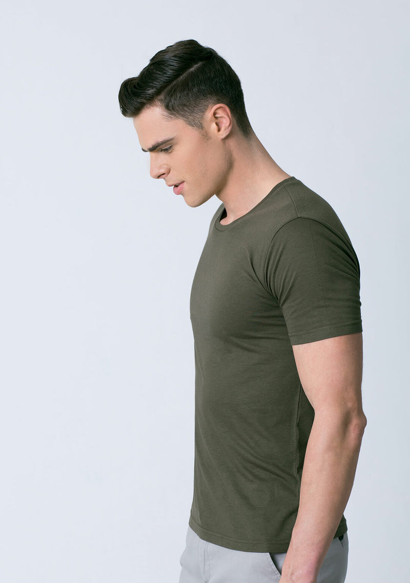Olive Green Color Bamboo Cotton Tee Shirt for Men