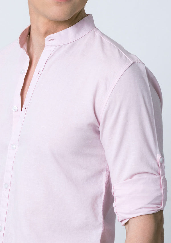 Mandarin Collar Shirt in Pale Pink