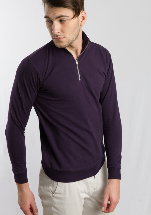 Zipper Sweatshirt in Aubergine