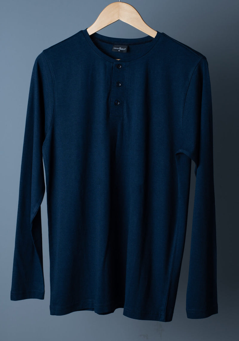 Full Sleeves Henley in Ensign Blue