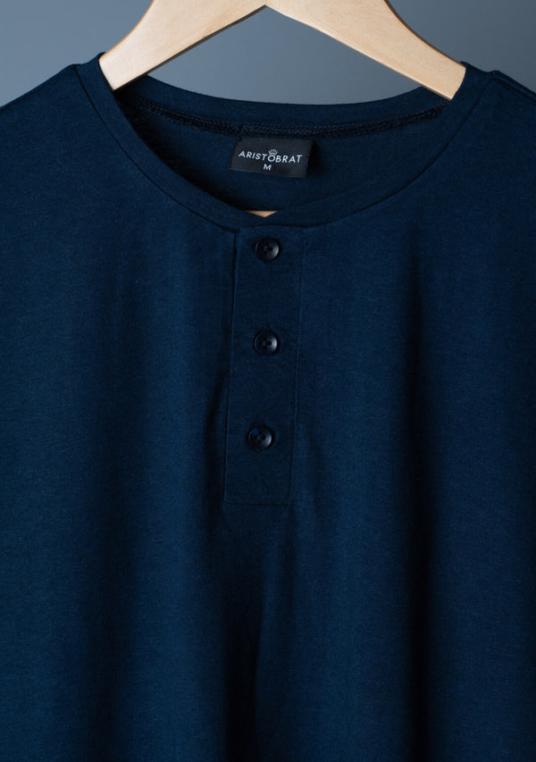 Full Sleeves Henley in Ensign Blue Colour