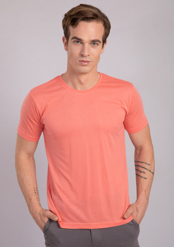crew neck t shirt in living coral color