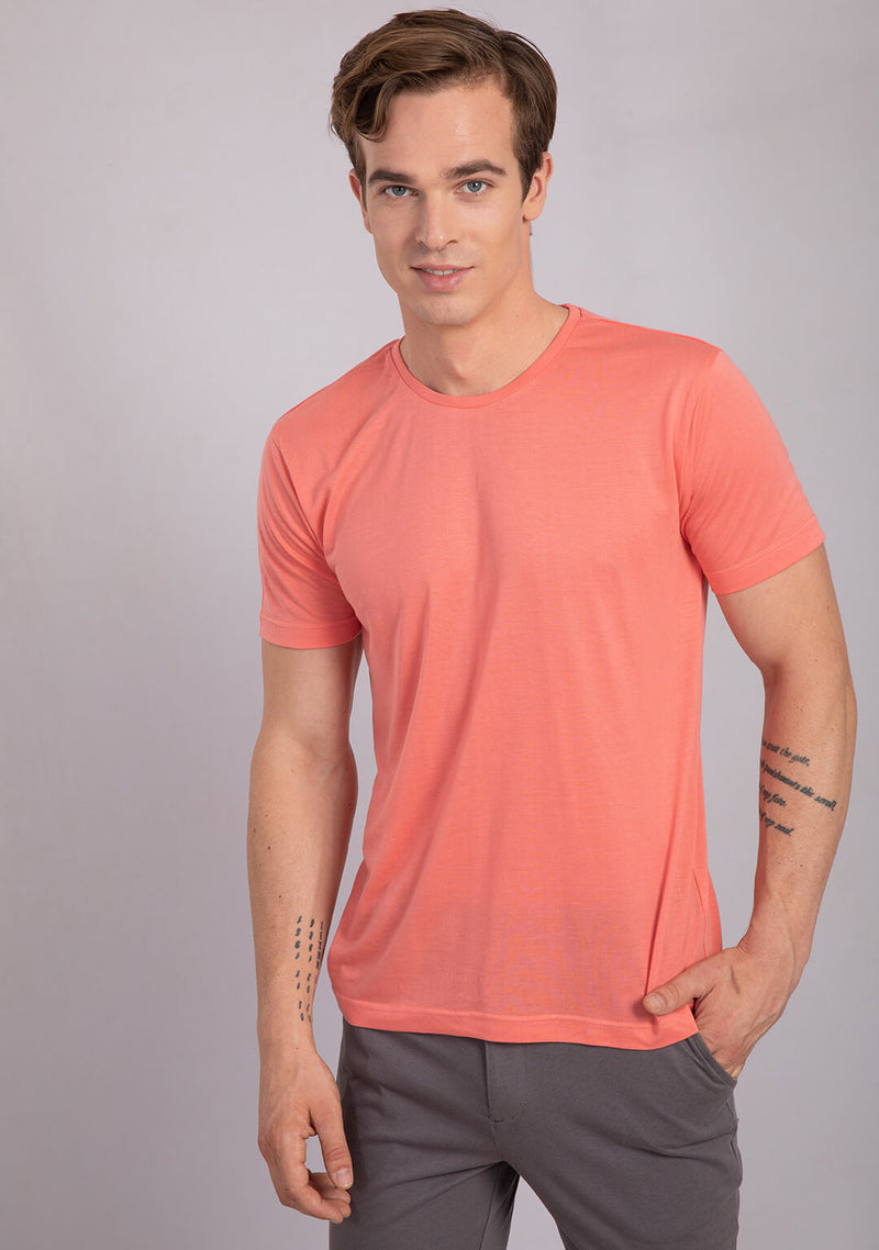 coral color crew neck t shirt
