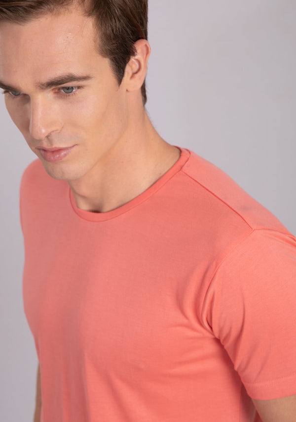 coral colour crew neck t shirts