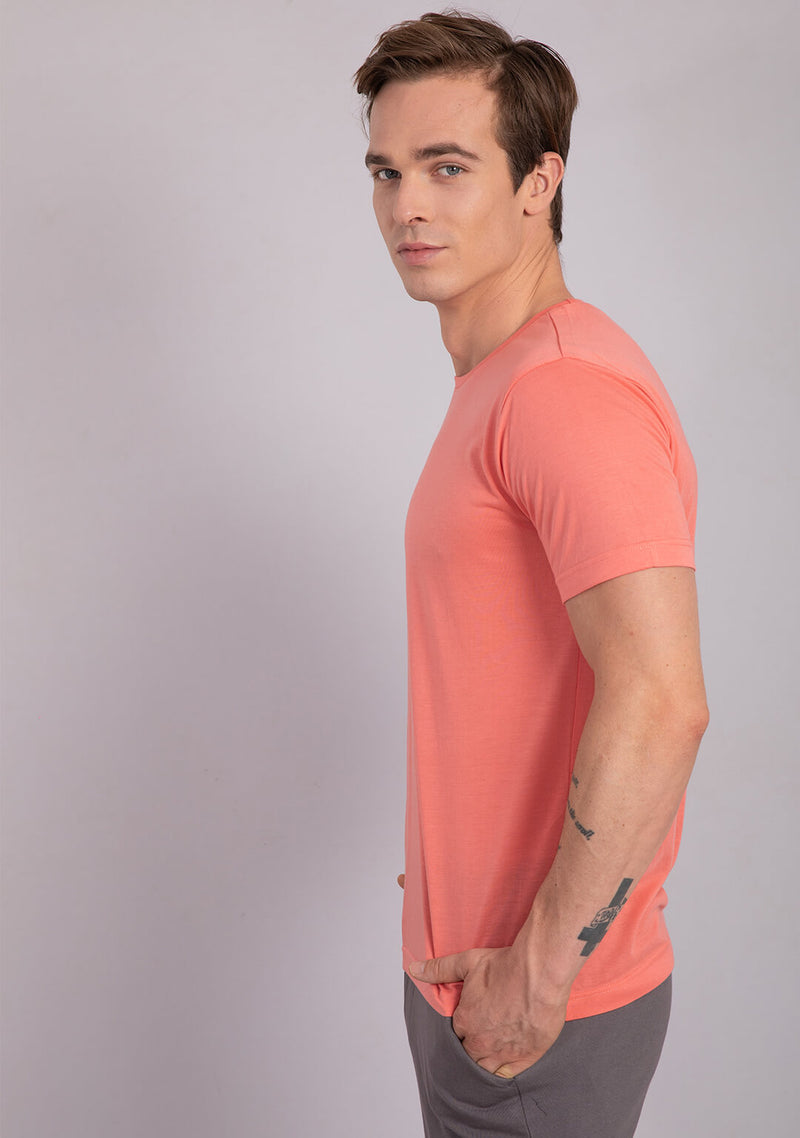 coral colour crew neck t shirt