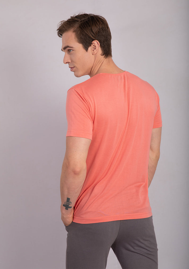 crew neck t shirt living coral color