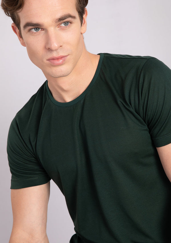 pine green colour crew neck t shirt