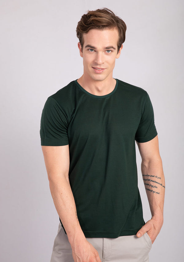 pine green colour crew neck t shirt buy online