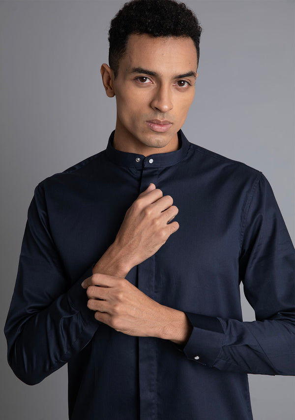Bandhgala Shirt in Navy