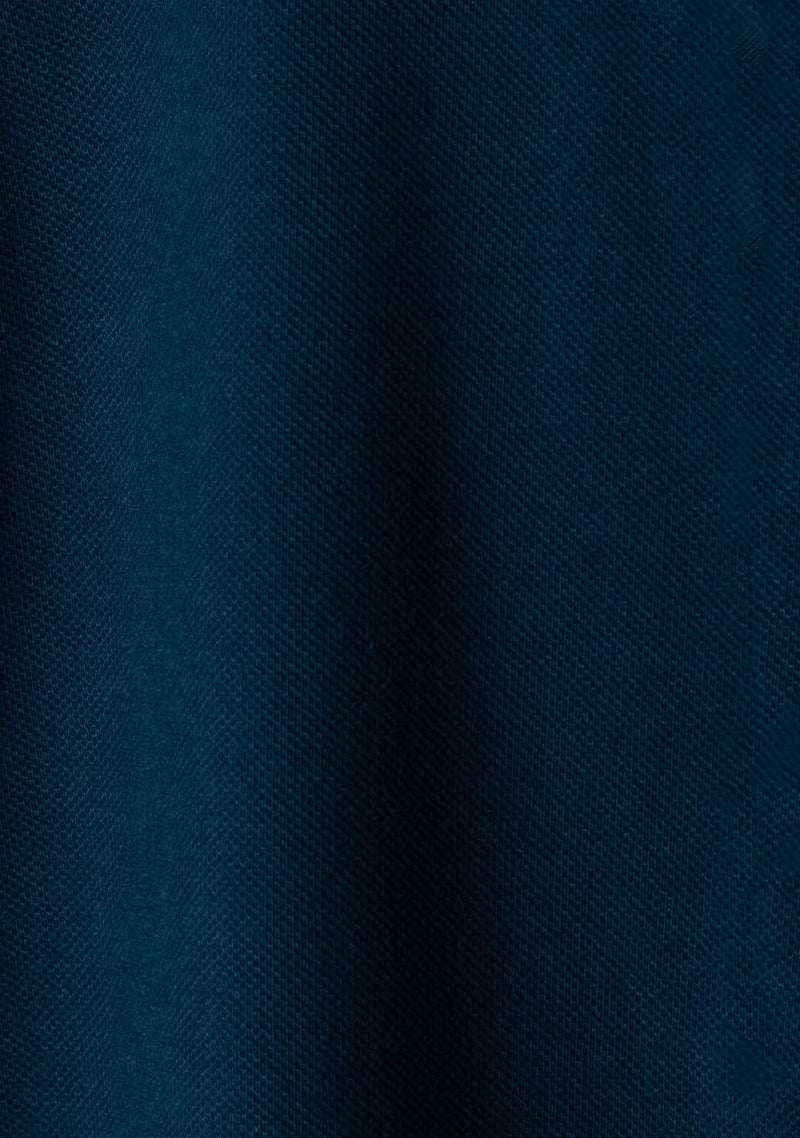 Image of Piqué Henley in Petrol Blue Colour