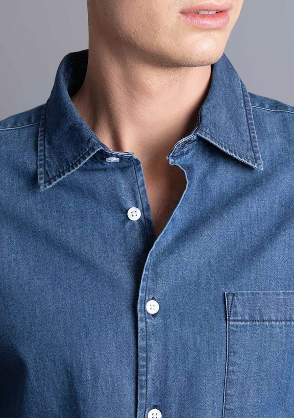 Light-weight Denim Shirt in Dark Blue