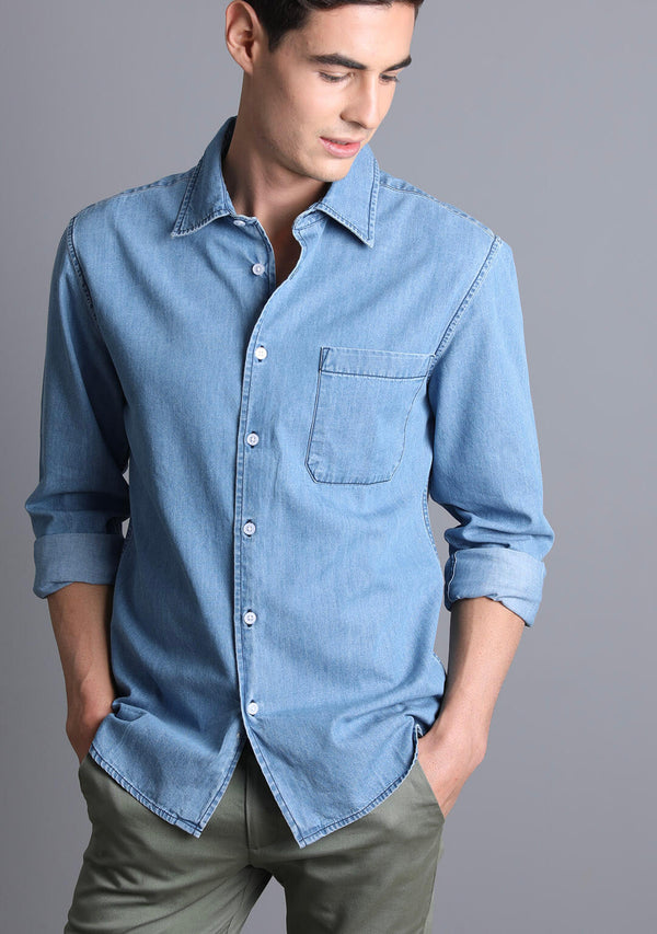 Light-weight Denim Shirt in Light Blue