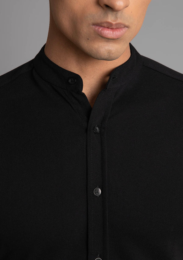 Full Sleeve Piqué Shirt in Black
