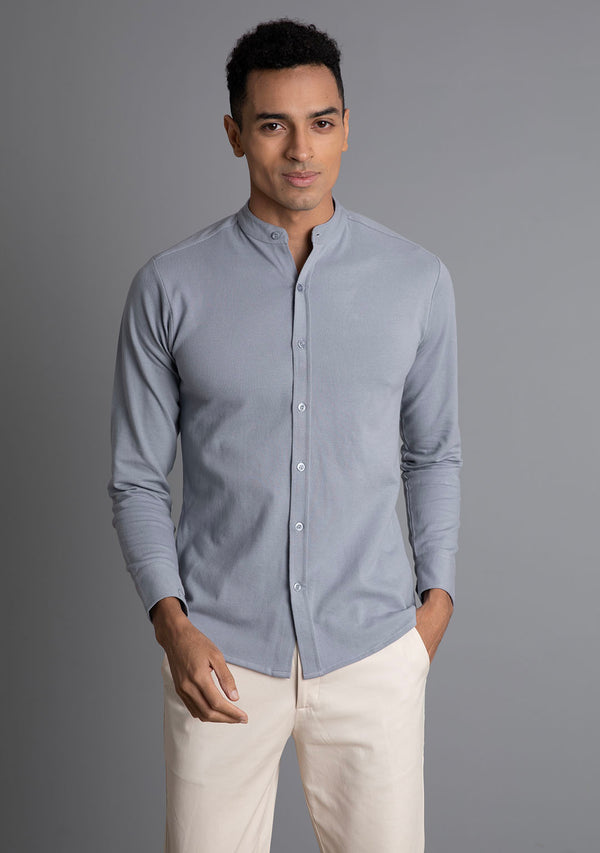 Full Sleeve Piqué Shirt in Frost Grey