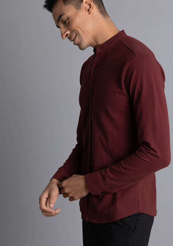 Full Sleeve Piqué Shirt in Windsor Wine