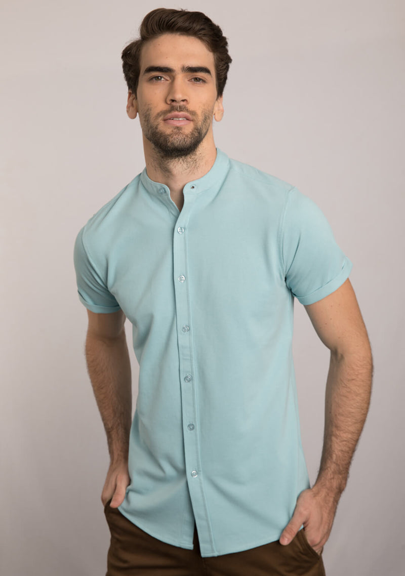 Piqué Shirt in Light Blue