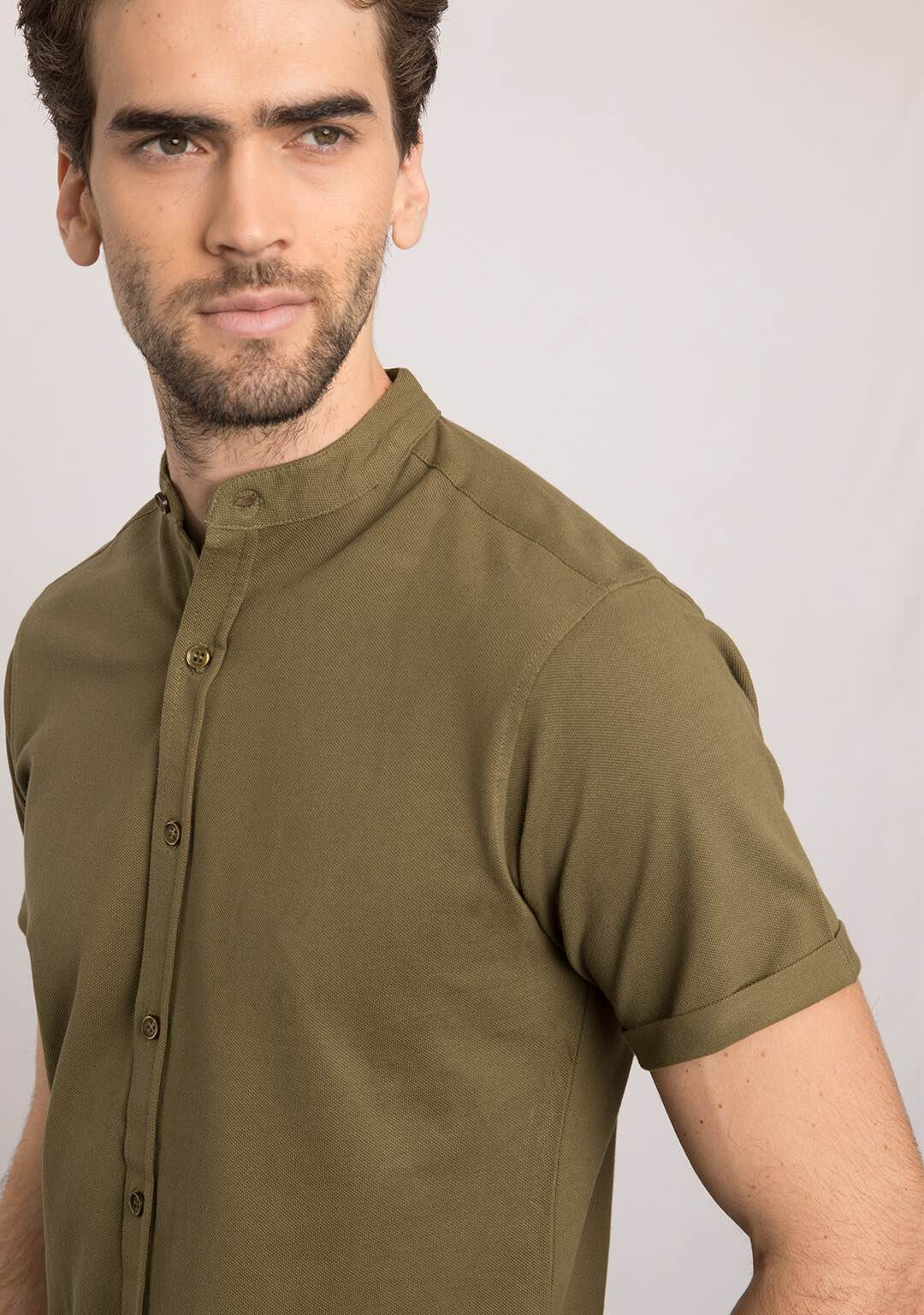 Piqué Shirt in Moss Green