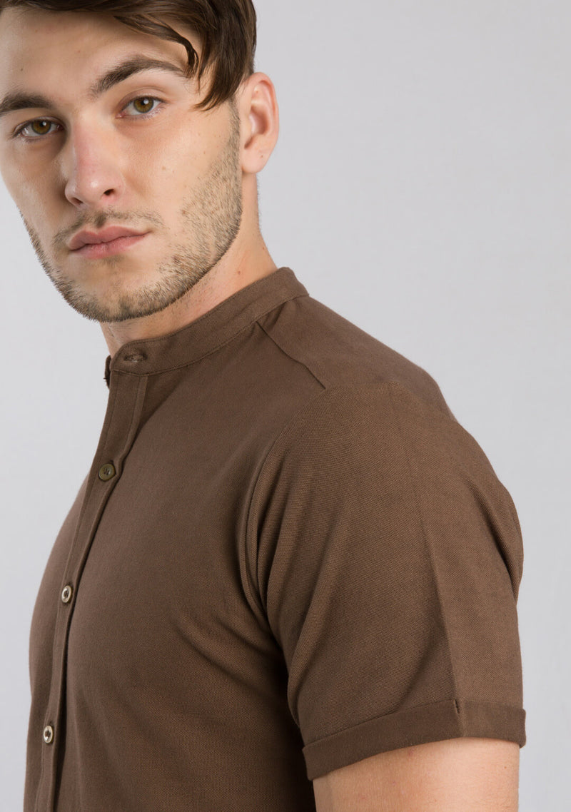 Picture of Men's Piqué Shirt in Mustang Colour